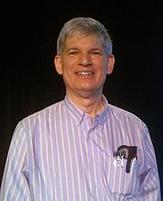 Author photo. American computer scientist Guy Steele speaking at Google Boston. Photo taken by George Ruban, 1 December 2015.