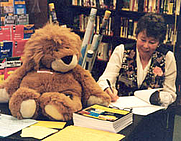 Author photo. Willoughby and me at a Barnes & Noble book signing!