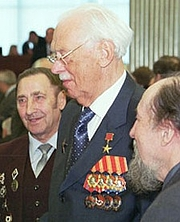 """Author photo. Sergey Mikhalkov and veterans, Moscow, 2002.  <a href=""""http://www.kremlin.ru"""">Russian Presidential Press and Information Office</a>."""