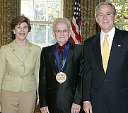 Author photo. 2006 National Medal of Arts recipient and bluegrass icon Dr. Ralph Stanley with President and Mrs. Bush