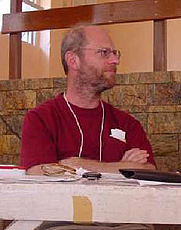 Author photo. Jeremy Brecher at World Social Forum 3, Porto Alegre, Brazil, 2003. (courtesy of <a href=&quot;http://www.zmag.org/photo6.htm&quot;>ZNet</a>)