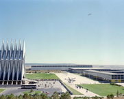 Author photo. A view of the chapel and Fairchild, Mitchell and Sijan Halls at the US Air Force Academy. (defenseimagery.mil)