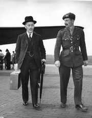 Author photo. Sir Alexander Cadogan (left) and Colonel David Bevan leave Gatow airport during Potsdam Conference, July 15, 1945. (United States Army Signal Corps photo) (trumanlibrary.org)