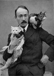 Author photo. Kerman and Zeris, the two Kittens who accompanied Author on his wanderings. Image from <b><i>Across Coveted Lands: or, A Journey from Flushing (Holland) to Calcutta Overland</i></b> (1902) by A. Henry Savage Landor