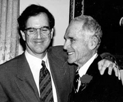 Author photo. Garry Trudeau in 1995, with his father Francis B. Trudeau, Jr. (founder of the <a href=&quot;http://www.trudeauinstitute.org/&quot;>Trudeau Institute</a>, an independent, not-for-profit biomedical research center) (courtesy of Garry Trudeau and the Institute)