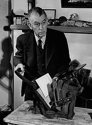 Author photo. Professor Trevor Kincaid with his own book press, 1954