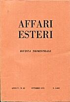 Affari Esteri : Rivista Trimestrale, Anno V…