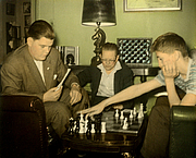 Author photo. Jack Collins with Bill Lombardy and Bobby Fischer