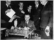 Author photo. Georges Bidault (seated), 29 June 1948 / Photo © <a href=&quot;http://www.bildarchivaustria.at&quot;>ÖNB/Wien</a>