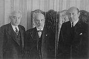 Author photo. Abba Hillel Silver, Menachem Ussishkin and Israel Goldstein during a Zionist Congress, 1937. By לזר דינר - This is available from Jewish National Fund photo archive, under the digital ID missing.