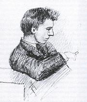 Author photo. Drawing (1885) by Frederik van Eeden (1860-1932)
