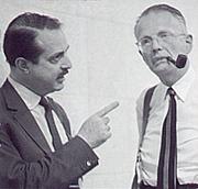 Author photo. Producers David Merrick (l) and George R. Marek (r)