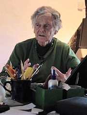 Author photo. June Goodfield [credit: The Write House; source: Rivers of Time promo on YouTube]