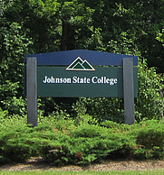 Author photo. A welcome sign on the campus of Johnson State College in Vermont, 2011 [source: Dasandman008 of Wikipedia]
