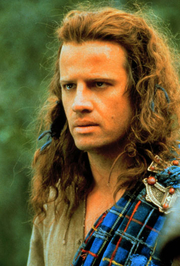 Author photo. Christopher Lambert as Connor MacLeod in Highlander.