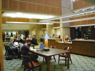 A common area within the Beasley School of Law Library.