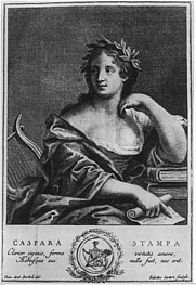 Author photo. Gaspara Stampa <br>Incisione di Felicita Sartori su disegno di Daniel Antonio Bertoli (1738) <br>Chalcography by Felicita Sartori from the portrait by Daniel Antonio Bertoli (1738)