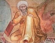 Author photo. Averroes, detail of the fourteenth-century Florentine artist Andrea Bonaiuto's Triunfo de Santo Tomás.