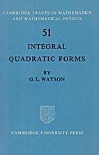 Integral Quadratic Forms (Cambridge Tracts…