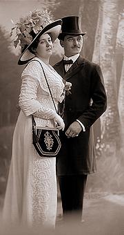 Author photo. Photographer Josef Jindřich Šechtl and Anna Stocká (Šechtlová), wedding photo, 1911