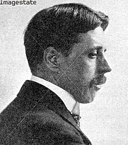 "Author photo. 'Arnold Bennett', The novelist of the 'Five Towns', (1923). Published in ""The Outline of Literature"", by John Drinkwater, London, 1923"
