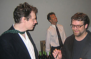 Author photo. Poetry winner Troy Jollimore (right) chats with <br>autobiography nominee Alexander Masters <br> at the 2007 National Book Critics Circle Awards <br>  Copyright © 2007 <a href=&quot;http://ronhogan.tumblr.com&quot;>Ron Hogan</a>