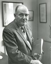 Author photo. James E. Pollard in 1959 [credit: Ohio State University]