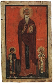 """Author photo. Thirteenth century icon of St. John Claimacus, to either side are Saint George and Saint Blaise By Novogrod school - scan from """"Muzeum Rosyjskie w Leningradzie"""", Arkady, Warszawa 1986, ISBN 83-213-3348-6, Public Domain, <a href=""""https://commons.wikimedia.org/w/index.php?curid=1882224"""" rel=""""nofollow"""" target=""""_top"""">https://commons.wikimedia.org/w/index.php?curid=1882224</a>"""