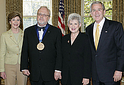 Author photo. White House photo by Paul Morse. <P>2006 National Medal of Arts recipient and composer William Bolcom  <P>with President and Mrs. Laura Bush and his wife Joan Morris.