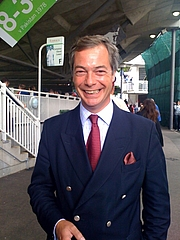 """Author photo. Nigel Farage at Lord's cricket ground, London, summer 2009, Sunday of the Ashes Test match. Author: """"Dweller"""" at Wikimedia Commons"""