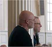 """Author photo. Brian McLaren (foreground) and Tony Jones, Yale Theological Conversation, Yale Divinity School, February 2006; Photograph: Virgil Vaduva CC BY 2.5, <a href=""""//en.wikipedia.org/w/index.php?curid=8898590"""" rel=""""nofollow"""" target=""""_top"""">https://en.wikipedia.org/w/index.php?curid=8898590</a>"""