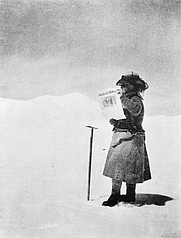 Author photo. Fanny Bullock Workman standing on Silver Throne plateau, Karakoram, Kashmir, Asia: Library of Congress Prints and Photographs Division (REPRODUCTION NUMBER:  LC-USZ62-108071)
