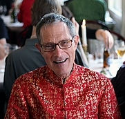 Author photo. Geoff in his beautiful silk shirt. Photo by Johan Anglemark.