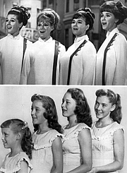Author photo. Publicity photo of the singing Lennon Sisters from the television program Jimmy Durante Presents the Lennon Sisters. The group is shown in 1969 and in 1955, when they became regulars on The Lawrence Welk Show. 1969, from left: Kathy, Janet, Peggy and Diane. 1955, from left: Janet, Kathy, Peggy and Diane.