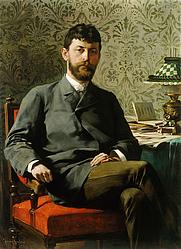 Author photo. Portrait of Dr. Ivan Tavčar, by Jurij Šubic, 1885