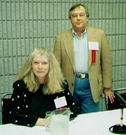 Author photo. Joan Hess with Dewey Lambdin in Nashville