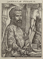 "Author photo. Portrait of Vesalius from his ""De humani corporis fabrica"" (1543)"