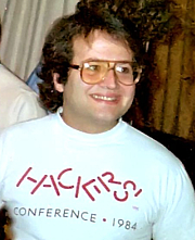 Author photo. Andy Hertzfeld talking to members of the Wellington Apple Users Club in 1985. Wellington, New Zealand. Original photo by Tony Wills