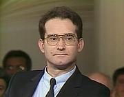 Author photo. Pierre Aubé le 13 juin 1986 lors de l'émission littéraire 'Apostrophe' intitulée 'Orient Occident : le choc' à l'occasion de la parution de son livre 'Godefroy De Bouillon' (Fayard)