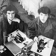 Author photo. Janet and Anne Grahame Johnstone at work in their studio at Badingham