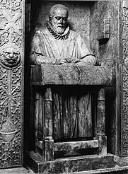 Author photo. Monument in St Andrew Undershaft, London
