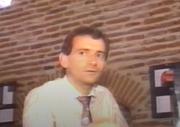 """Author photo. Philippe Autexier le 29 août 1991 lors d'une interview télévisée à l'occasion de la maniefstation """"Exposition Mozart et franc maçon à Cahors"""", France"""