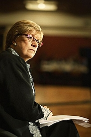 """Author photo. British journalist and writer Polly Toynbee, pictured at the """"National Poverty Hearing"""" at Westminster; December 2006. (Photograph by flickruser cooperniall.)"""
