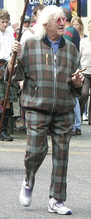 Author photo. Sir Jimmy Savile as Honorary Chieftain of the Lochaber Highland Games (Wikipedia)
