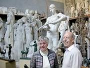 Author photo. François Bouchard et son épouse dans l'atelier musée de Paris transféré en 2007 à Roubaix, Nord