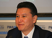 Author photo. Russian politician and chess activist Kirsan Ilyumzhinov during a press conference in Moscow concerning the Chess Olympiad 2010
