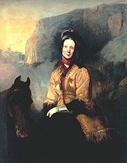 Author photo. A painting of Lady Florentia Sale escaping from Kabul on horse Richard Thomas Bott, 1844