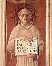 Author photo. Jacopone da Todi by Paolo Uccello, detail from fresco in Prato Cathedral, 1435-40.