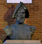 Author photo. Bust of Bernal Diaz, Medina del Campo, Spain.  Photo by José-Manuel Benito / Wikimedia Commons.