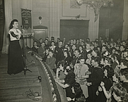 Author photo. Molly Picon performing during a U.S.O. tour
